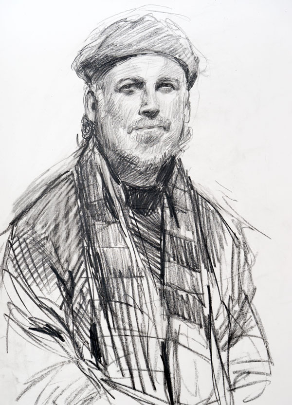 A pencil drawing of Carrasco done at Montmartre, Paris by Gabor Gozon.