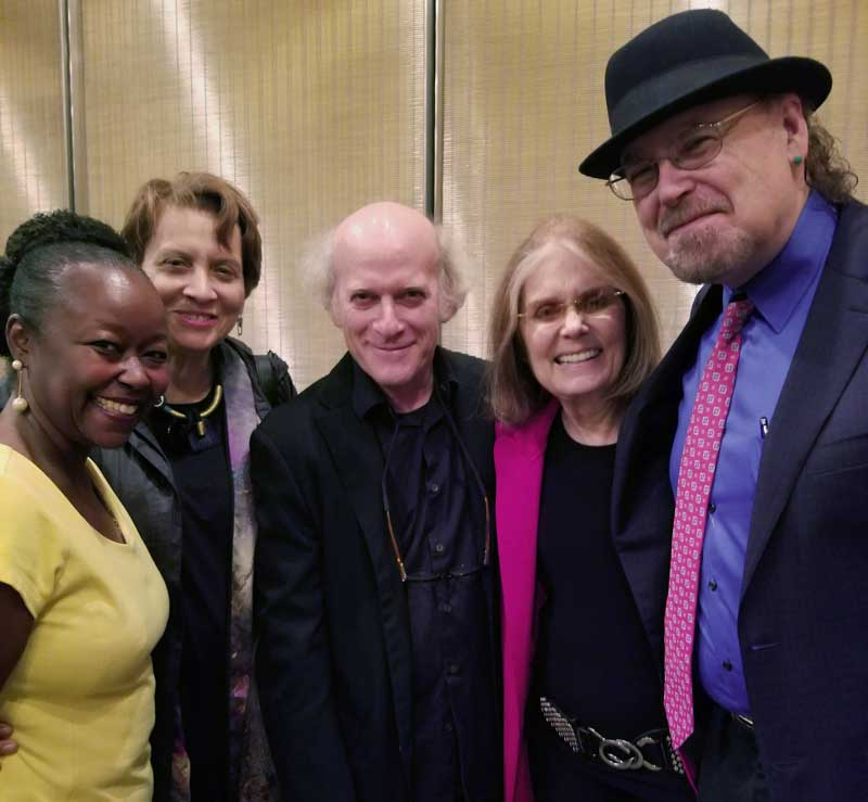 After film photo with Gloria Steinem, film director Timothy Greenfield Sanders, cast members Paula Giddings, Farah Griffin and David Carrasco at the New York Public Library premier.